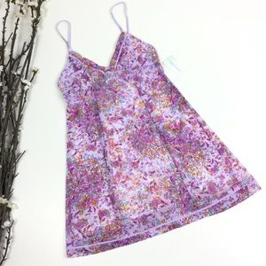 Pink Purple Pink Floral Stretch Mesh Nightgown